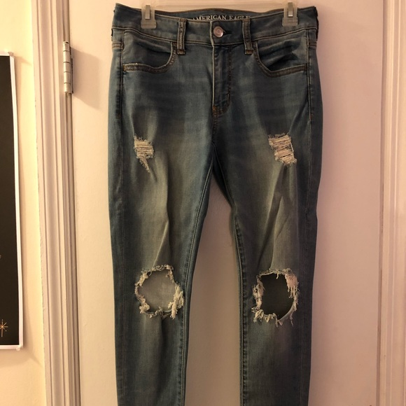 American Eagle Outfitters Denim - AE Super Soft Light Wash Distressed Jeggings